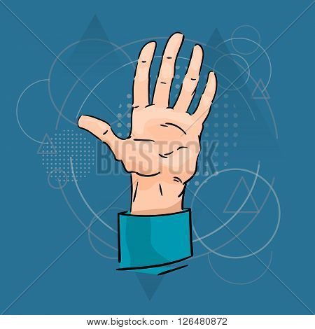 Business Man Palm Hand Five Fingers Gesture Over Triangle Geometric Background Flat Vector Illustration