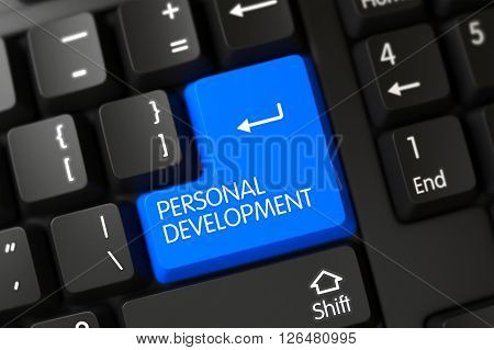 Modern Keyboard Button Labeled Personal Development. Personal Development Keypad. Modern Keyboard with the words Personal Development on Blue Key. 3D Illustration.
