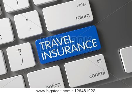 Modern Keyboard with Hot Button for Travel Insurance. Keyboard with Blue Keypad - Travel Insurance. Travel Insurance Button on Laptop Keyboard. 3D Illustration.