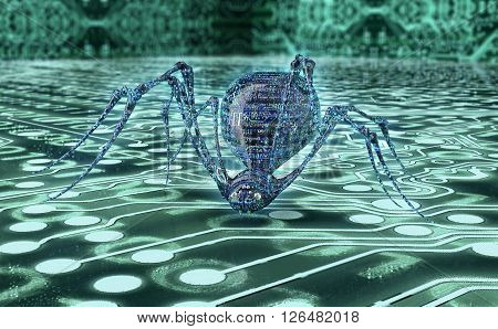Digital Safety Concept Computer Bug In Electronic Environment, 3D Illustration