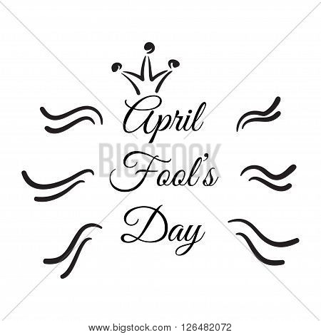 April Fool's Day Vector Illustration Hand Drawn Black Lines On White Isolated