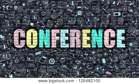 Conference Concept. Modern Line Style Illustration. Multicolor Conference Drawn on Dark Brick Wall. Doodle Icons. Doodle Design Style of Conference Concept. Conference on Dark Brick Wall. Conference.