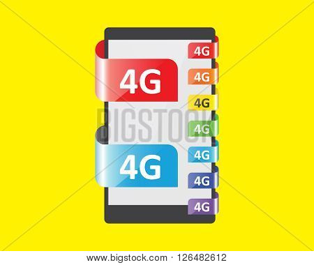 4G connection colors feature vector illustration for  smart phone and tablets
