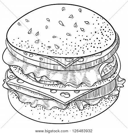 Vector illustration. Doodle hand-drawn line art Cheeseburger