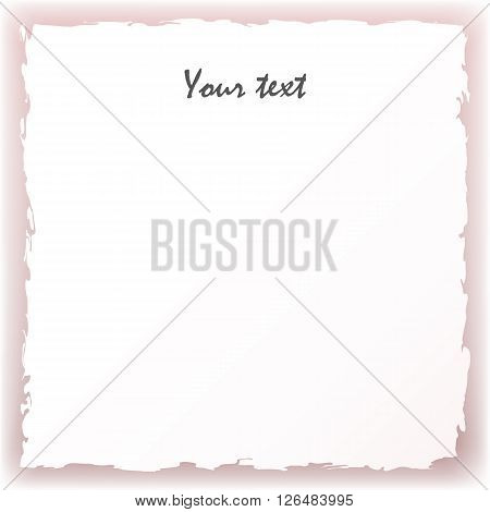 Vector illustration of white torn paper on a pink background.