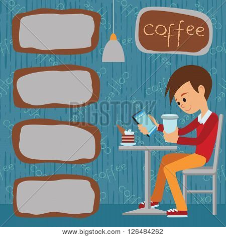 Vector illustration of template for menu brochure flyers for a cafe or restaurant with a picture of a young boy sitting at a table drinking coffee and using tablet.