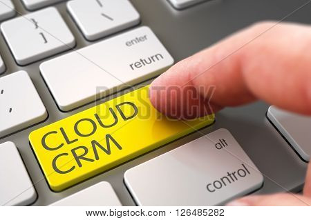 Hand of Young Man on Cloud Crm Yellow Keypad. Cloud Crm Concept. Cloud Crm Concept - White Keyboard with Button. Finger Pressing a Modern Laptop Keyboard Keypad with Cloud Crm Sign. 3D.