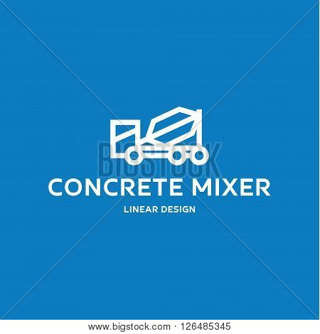 Concrete mixer machine at linear style logo design flat high-quality illustrations for business icon art