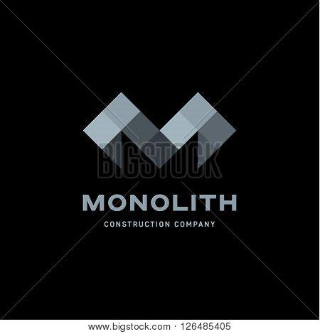 Monolith abstract gemotrecheska letter M in shades of gray flat illustration logo art