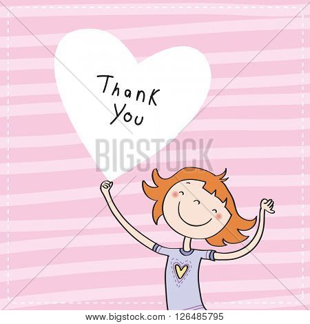 Young girl holding a heart shaped thank you sign. Vector cartoon thank you card illustration.