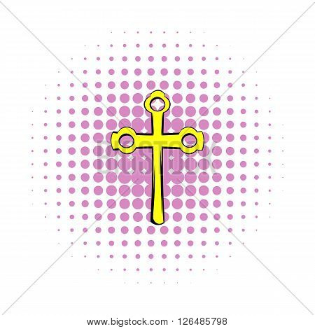 Religious symbol of crucifix icon in comics style on a white background
