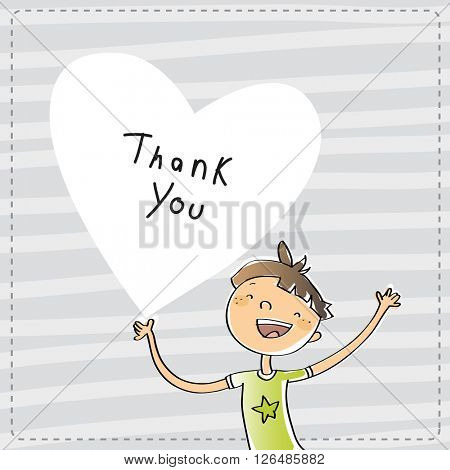 Young boy holding a heart shaped thank you sign. Cartoon thank you card illustration.