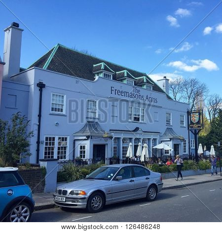 LONDON - APRIL 19: The Freemasons Arms Pub on April 19, 2016 in Hampstead, London, UK.