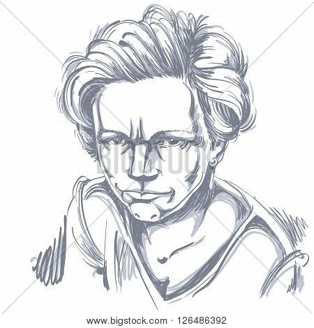 Vector Art Drawing, Portrait Of Angry Girl Isolated On White. Facial Expressions, People Negative Em