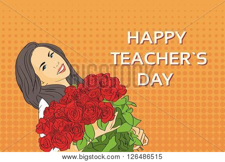 Woman Hold Rose Flower Bouquet Teacher Day Holiday Greeting Card Pop Art Colorful Retro Style Vector Illustration
