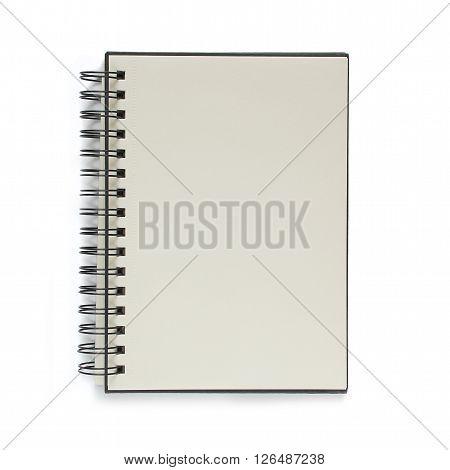 Notebook isolated on white background. Black notepad.