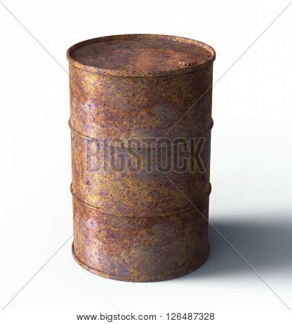Rusty Barrel Leaking Oil Isolated On White