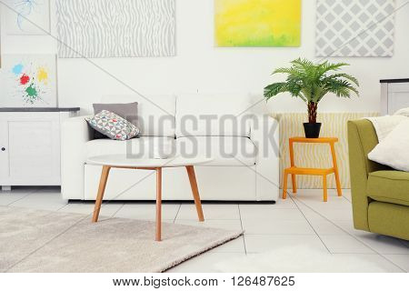 Modern living room interior with white sofa, coffee table and canvases on the white wall