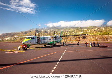 LA PALMA ISLAND, SPAIN - SIRCA JANUARY 2016: Local airline Binter Canarias on La Palma airport. Binter Canarias is an small airline based in Telde, Gran Canaria, Spain