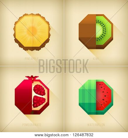 Picture for juicemenu shirt illustration. Pomegranate watermelon and pineapple graphic element