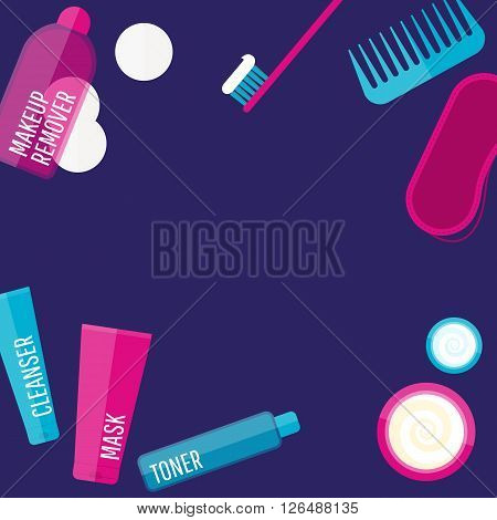 Vector evening beauty routine frame in flat style. Icons of different bottles for cosmetics face cream and eye cream tooth brush hair brush sleep mask.