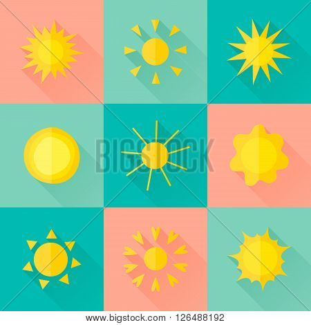 Vector Suns Icons Of Different Forms In The Flat Style