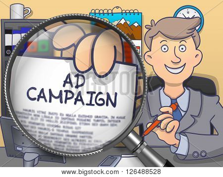 Ad Campaign on Paper in Business Man's Hand to Illustrate a Business Concept. Closeup View through Magnifying Glass. Multicolor Doodle Style Illustration.