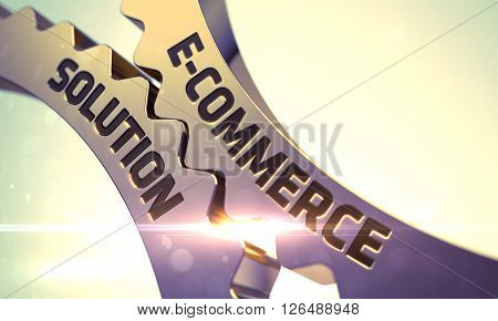 E-Commerce Solution on Mechanism of Golden Gears. E-Commerce Solution Golden Cog Gears. Golden Gears with E-Commerce Solution Concept. E-Commerce Solution - Concept. 3D Render.