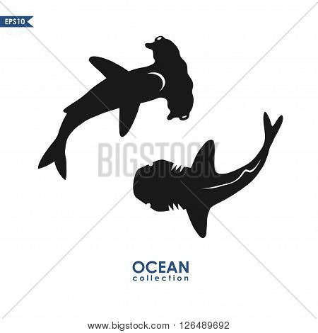 sharks silhouettes isolated on white, vector illustration