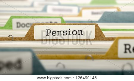 File Folder Labeled as Pension in Multicolor Archive. Closeup View. Blurred Image. 3D Render.