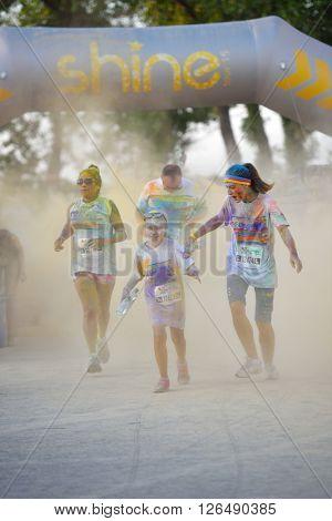 MAMAIA, CONSTANTA, ROMANIA - AUGUST 1: Mamaia color run 2015, in Mamaia, Constanta, on August 1, 2015. People from all walks of life participating in the fun colored summer run