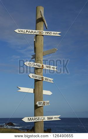 Sign post on the coast of Easter Island showing the distance to various cities around the world.