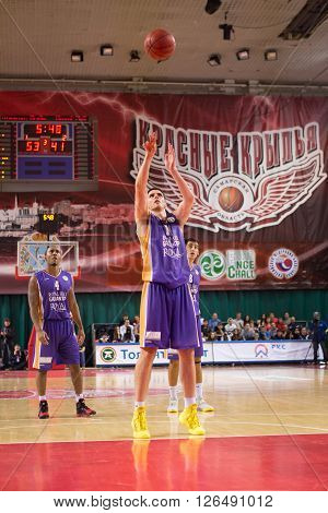 Bc Royal Hali Gaziantep Forward Dejan Borovnjak (14) Shoots A Free Throw
