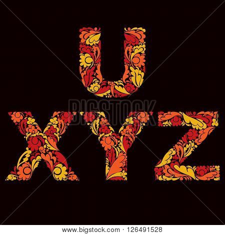 Decorative Typescript With Natural Pattern. Flowery Alphabet, Calligraphic Uppercase Letters.