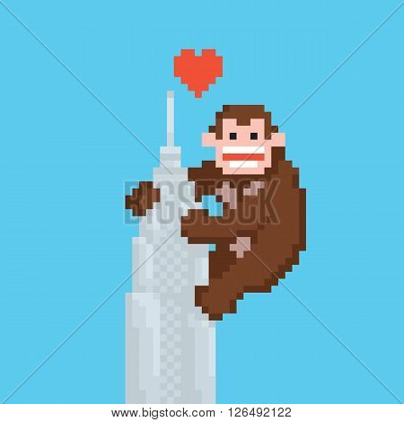 Pixel art style gorilla on a skyscraper vector illustration