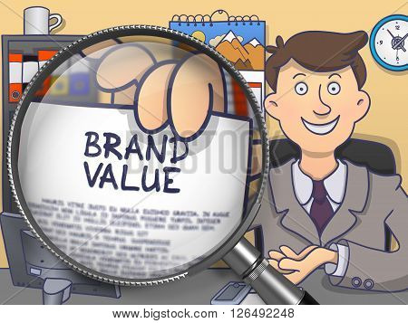 Brand Value through Magnifier. Business Man Sitting in Office and Holds Out Paper with Concept. Multicolor Doodle Illustration.