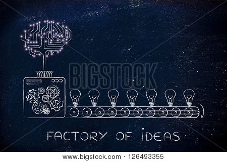 Electronic Brain On A Production Line Of Ideas, Factory Of Ideas