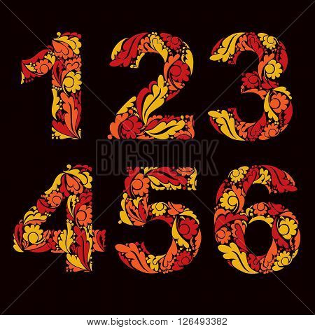 Beautiful Floral Numbers, Decorative Digits With Autumn Retro Pattern. 1, 2, 3, 4, 5, 6.