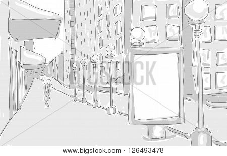 citylight in the city draw graphic design. vector illustration