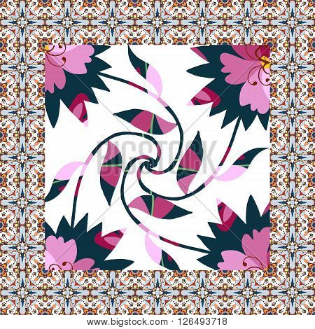 Beautiful napkin with floral kaleidoscope. Vector card with ornamental border.