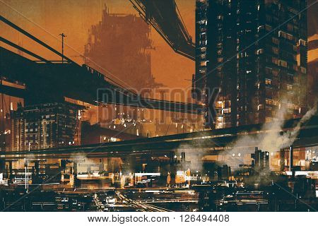 sci fi scene showing futuristic industrial cityscape, illustration