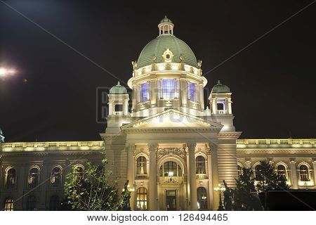 The building of the Serbian National Parliament in the night