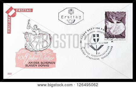 AUSTRIA - CIRCA 1967 : Cancelled First Day Cover letter printed by Austria, that shows Ballet dancer.