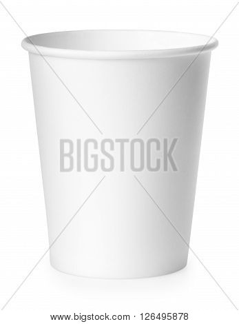 single disposable empty white paper cup isolated on white background. Package for drinks