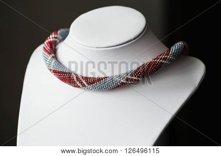 Crochet Beaded Necklace With A Pattern Close Up