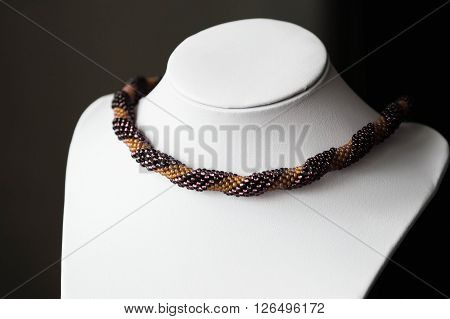 Handmade Crocheted Necklace Made Of Beads Of Two Colors