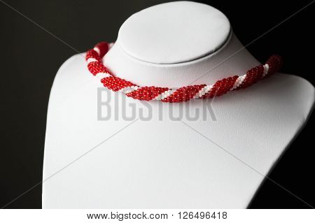 Beaded Crochet Necklace From Beads Of Red And White Color