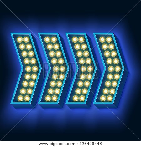 Neon pointer. Several arrows with lights and blue on a black wall. Volumetric 3D retro frames. illustration