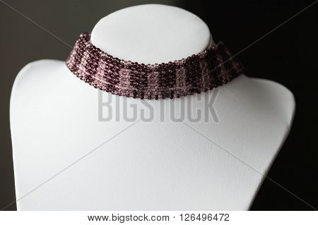 Choker Necklace Wattled From Beads Of Two Colors