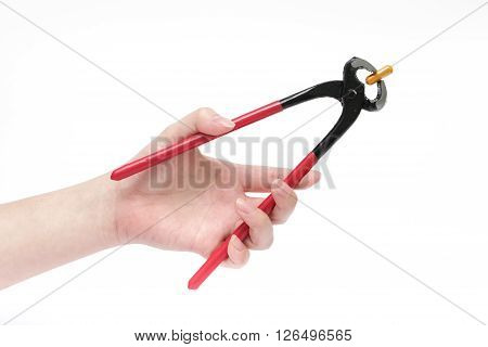 Drug removal concept by using tools on isolate white background